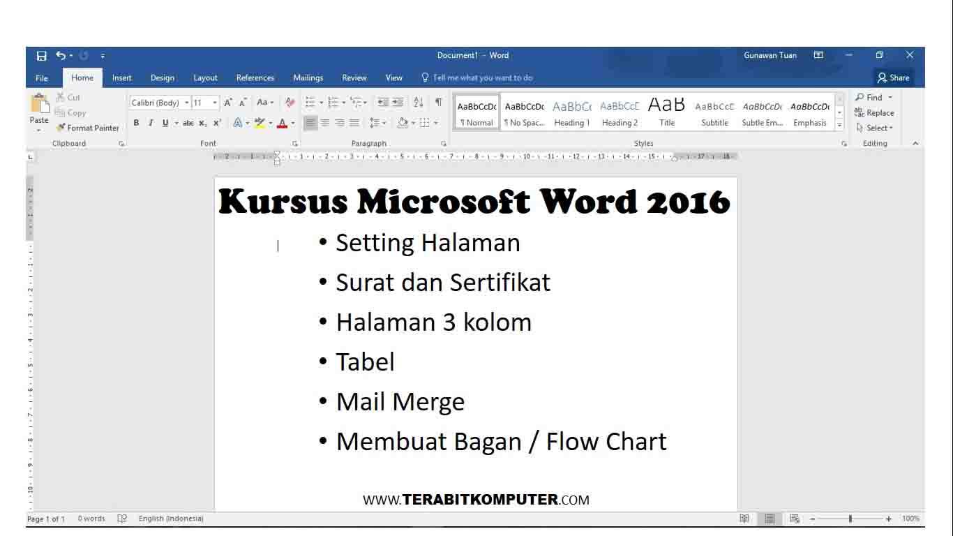 Kursus Microsoft Word 2016