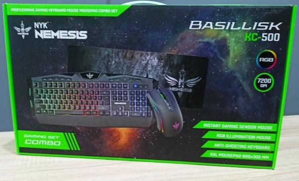 Paket Keyboard Mouse Mousepad Gaming NYK Basillisk KC-500